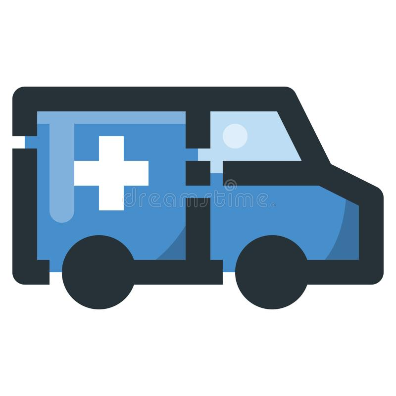 Ambulance Vector Filled Line Icon 32x32 Pixel Perfect. Editable. 2 Pixel Stroke Weight. Colorful Medical Health Icon for Website Mobile App Presentation royalty free illustration