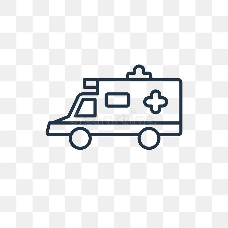 Ambulance vector icon isolated on transparent background, linear. Ambulance vector outline icon isolated on transparent background, high quality linear Ambulance vector illustration