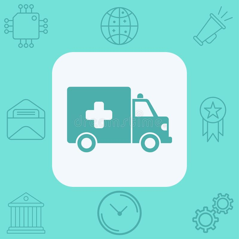 Ambulance vector icon sign symbol. Ambulance icon vector, filled flat sign, solid pictogram isolated on white. Symbol, logo illustration royalty free illustration