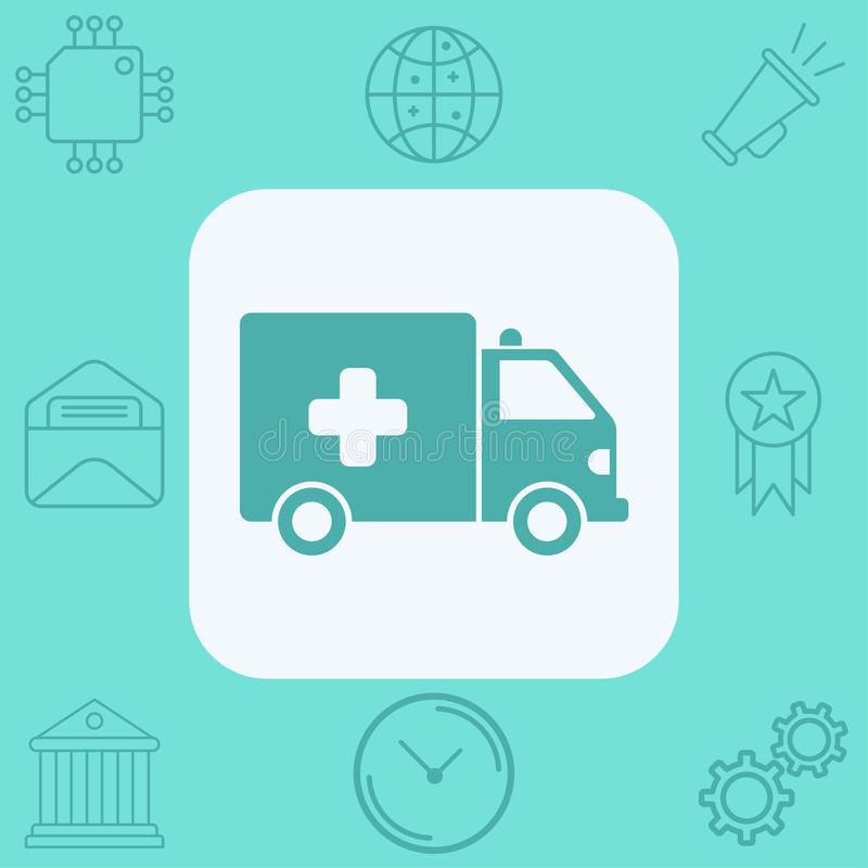 Ambulance vector icon sign symbol. Ambulance icon vector, filled flat sign, solid pictogram isolated on white. Symbol, logo illustration stock illustration