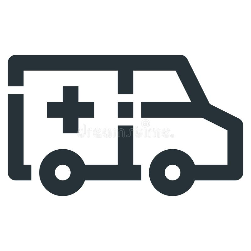 Ambulance Vector Line Icon 32x32 Pixel Perfect. Editable 2 Pixel. Stroke Weight. Medical Health Icon for Website Mobile App Presentation vector illustration