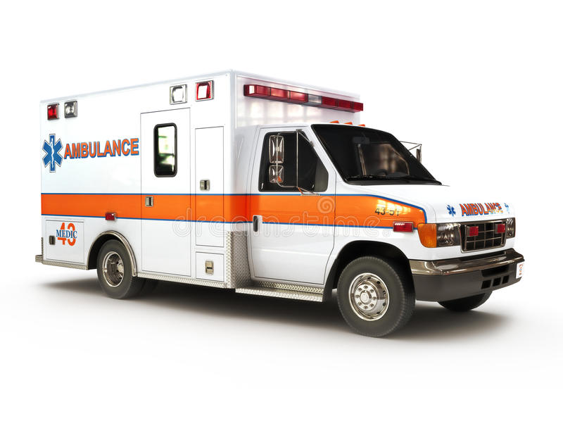 Ambulance on white background. Part of a first responder series,lighted night version also available stock illustration
