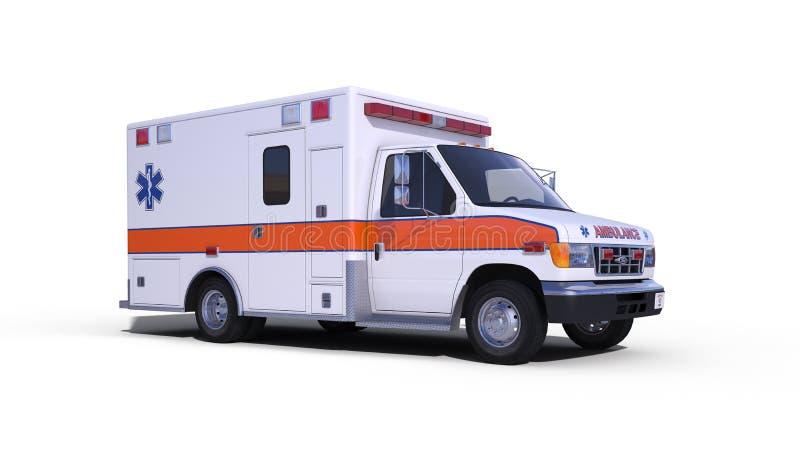 Ambulance white. Ambulance isolated on white background royalty free stock photography