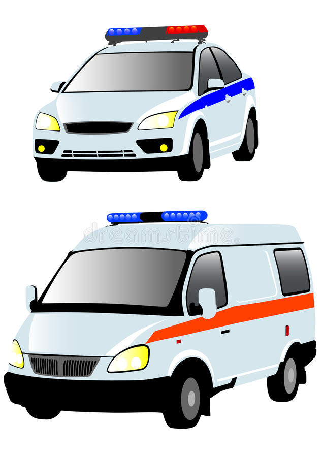 Ambulances et police illustration stock