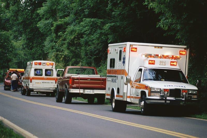 Ambulances parked. On side of road stock photo