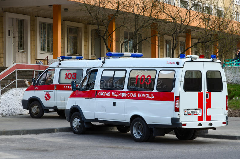 Ambulances are at substation number 5, Gomel, Belarus stock images