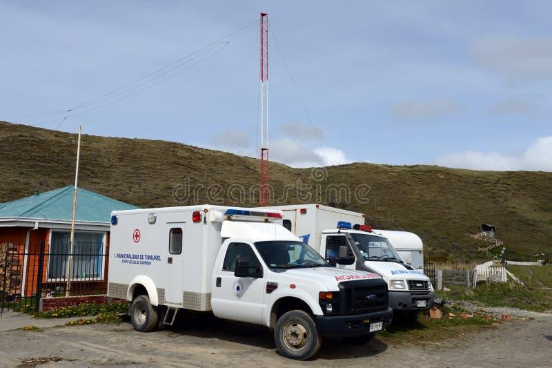 The ambulances in the village of Cameron. Tierra Del Fuego. CAMERON, CHILE - NOVEMBER 12,2014:The ambulances in the village of Cameron. Tierra Del Fuego stock photo
