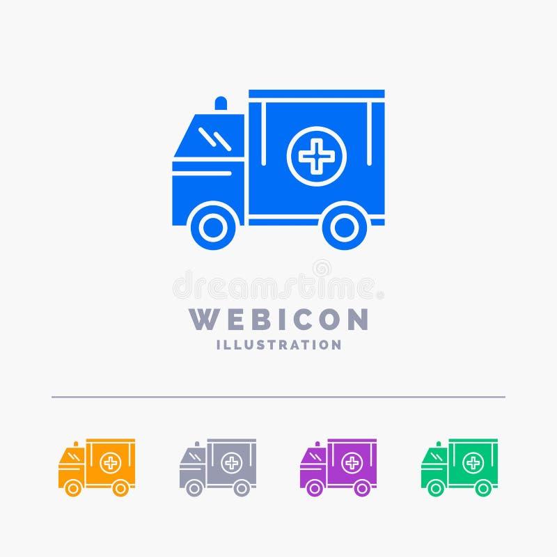 ambulancia, camión, médico, ayuda, plantilla del icono de la web del Glyph del color de la furgoneta 5 aislada en blanco Ilustrac libre illustration