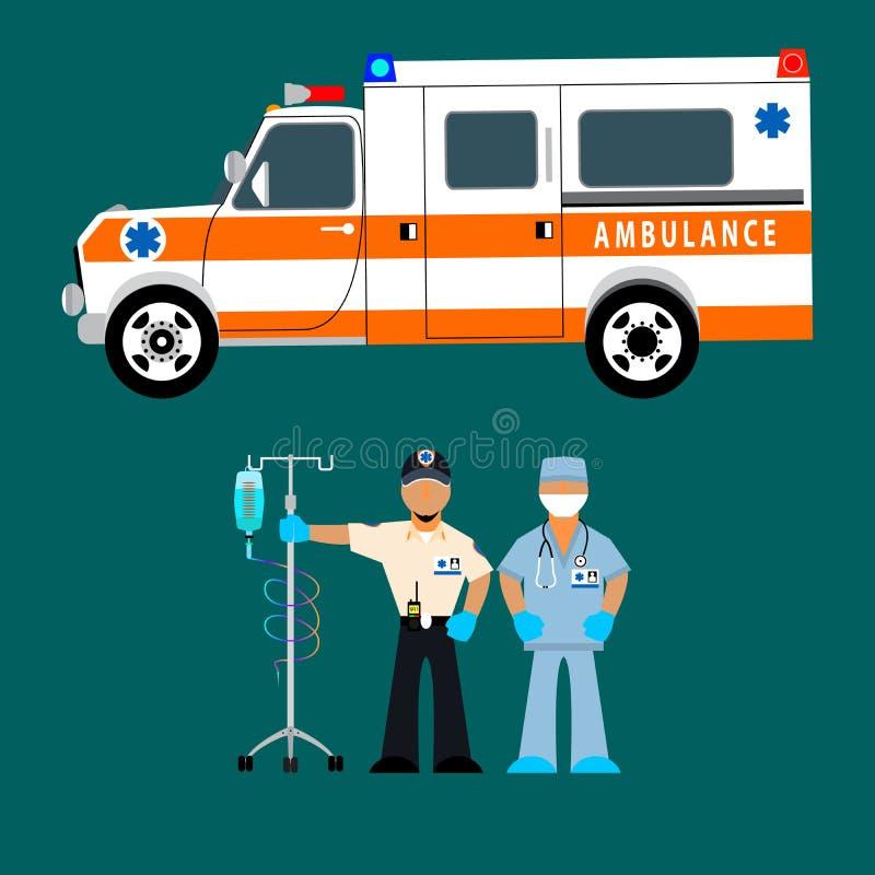 Ambulancia, conductor de la ambulancia y un equipo médico con un dropper Trabajo del rescate ilustración del vector
