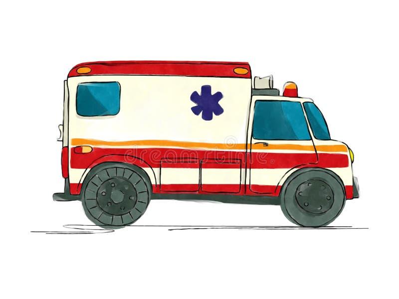 Ambulancia de la acuarela ilustración del vector