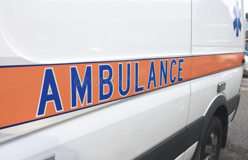 Ambulance Emergency Vehicle. An ambulance transports people in need of emergency to medical treatment to medical facilities or hospitals royalty free stock images