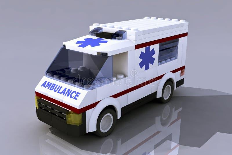 ambulans för 3D Lego stock illustrationer