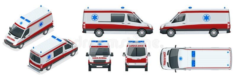 ambulans samochód German europy Monachium Przeciwawaryjna usługa zdrowotna, zarządza przeciwawaryjną opiekę tamto z ostrymi probl ilustracja wektor