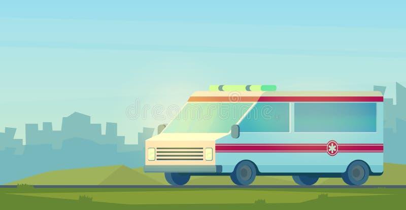 Ambulansbil i stad Maskinen för att ge den första nödvändiga nöd- medicinska hjälpen Vektortecknad film royaltyfri illustrationer