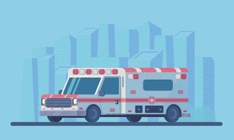 Ambulansbil med stadsscyscraperlandskap Första hjälpenläkarundersökningmedel Vektorlägenhetstil royaltyfri illustrationer