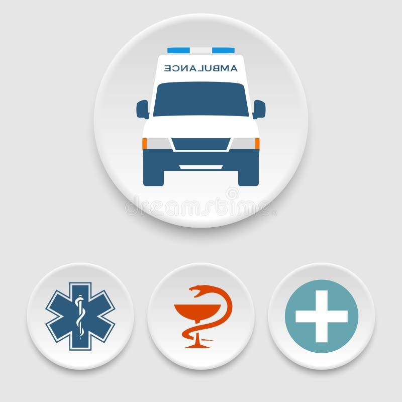 Ambulansbil- och läkarundersökningsymboler royaltyfri illustrationer