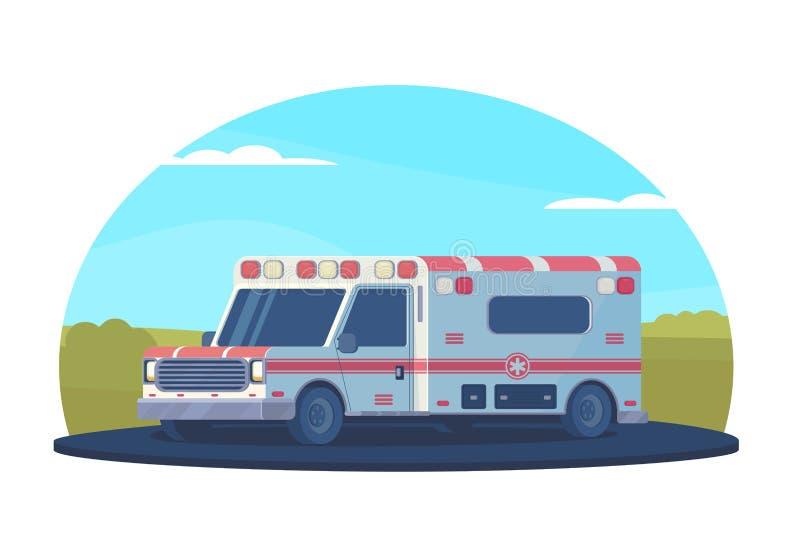 Ambulansbil på vägen utanför staden Första hjälpenläkarundersökningmedel Vektorlägenhetstil vektor illustrationer