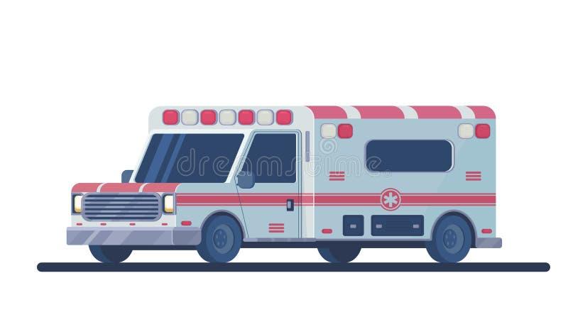 Ambulansbil som isoleras på vit Maskinen för att ge den första nödvändiga nöd- medicinska hjälpen stock illustrationer
