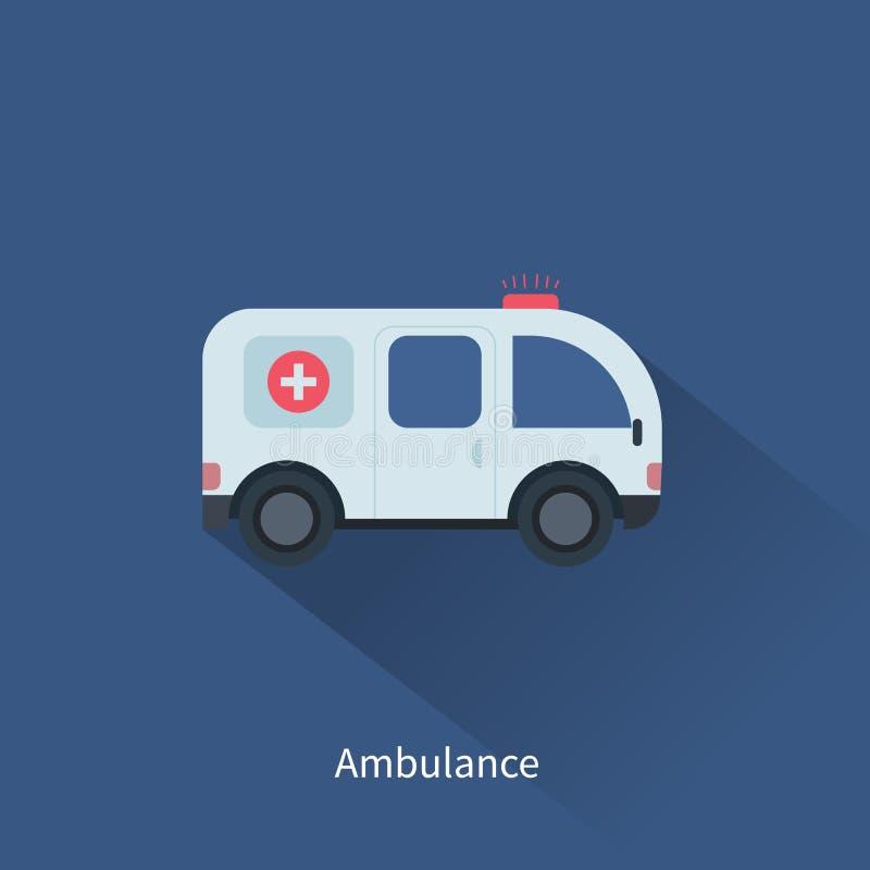 Ambulansbilsymbol i plan designstil vektor illustrationer