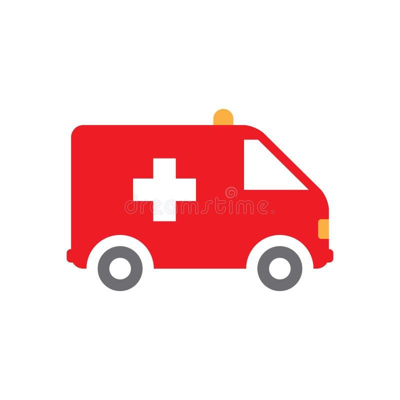 Ambulansbilsymbol, rött som isoleras på vit bakgrund, vektorillustration royaltyfri illustrationer