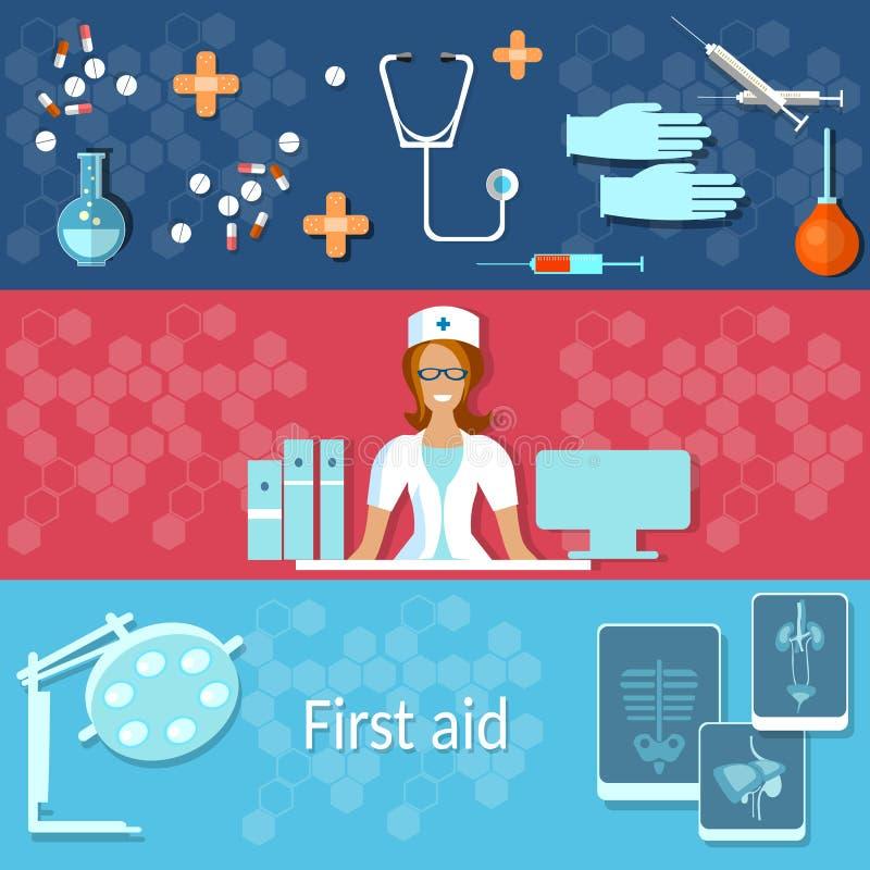 Ambulansdoktor för medicinsk klinik och tålmodiga sjuksköterskabaner royaltyfri illustrationer