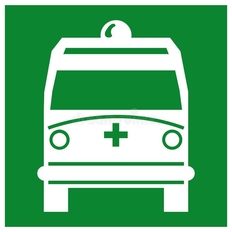Ambulansen v?ljer upp punktsymboltecknet, vektorillustrationen, isolat p? vit bakgrund, etiketten, symbol EPS10 royaltyfri illustrationer
