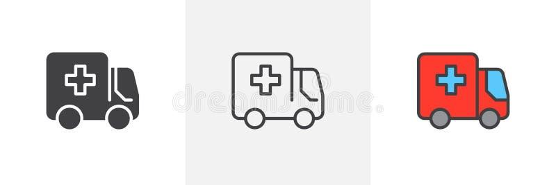 Ambulanslastbilsymbol royaltyfri illustrationer