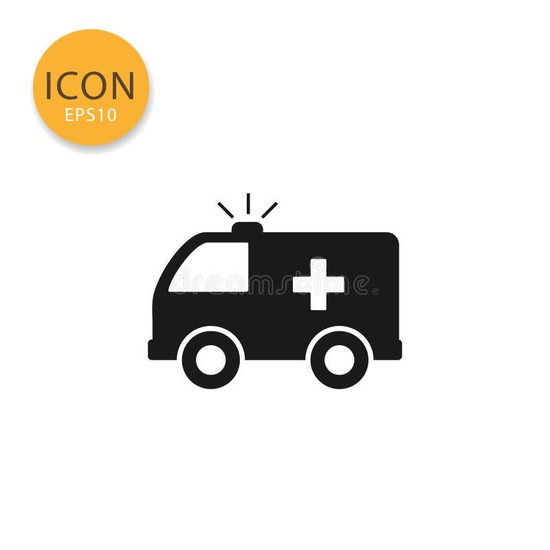 Ambulansowa ikona odizolowywający mieszkanie styl ilustracji