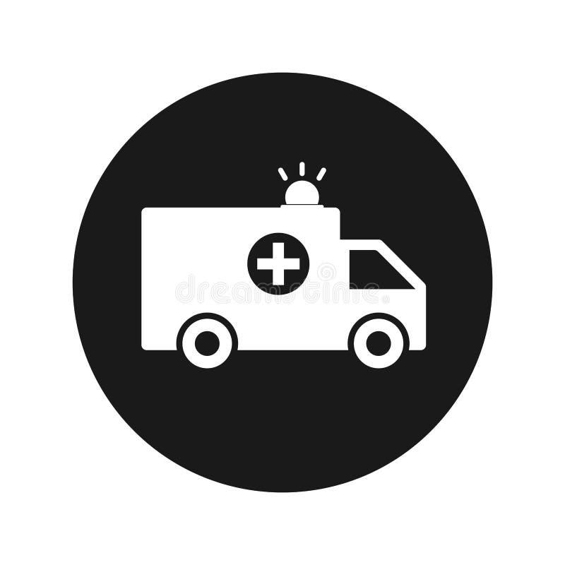 Ambulansowa ikony płaskiego czerni round guzika wektoru ilustracja royalty ilustracja