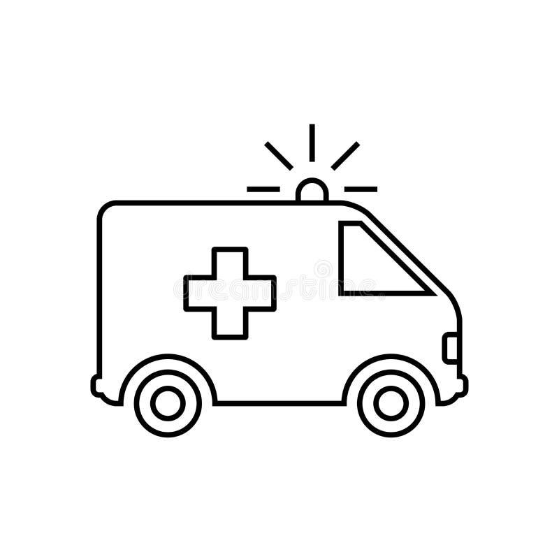 Ambulansowa samochód linii ikona, czerni odosobnionego na białym tle, wektorowa ilustracja ilustracja wektor