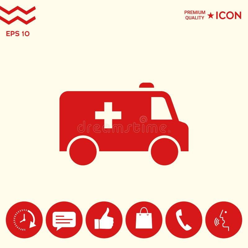 Ambulansowa symbol ikona ilustracja wektor