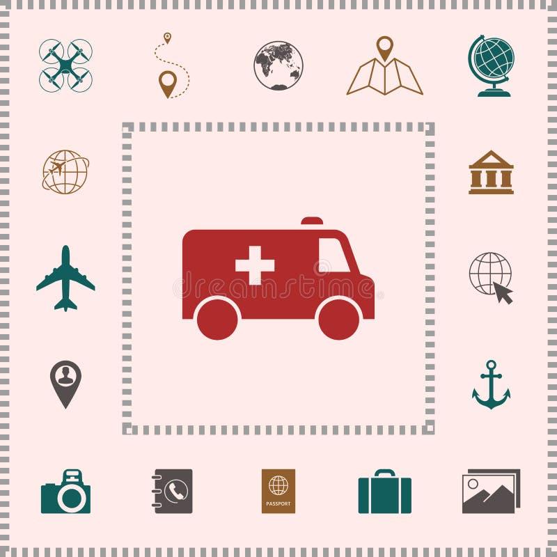 Ambulansowa symbol ikona ilustracji