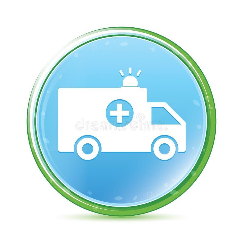 Ambulansowego ikony naturalnego aqua round cyan błękitny guzik ilustracji