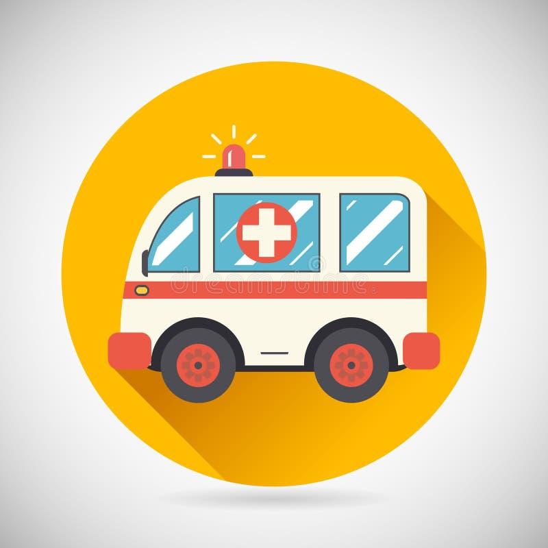 Ambulansowy samochód Pośpiesza pomoc Ratownicza ikona Uzdrawia ilustracja wektor