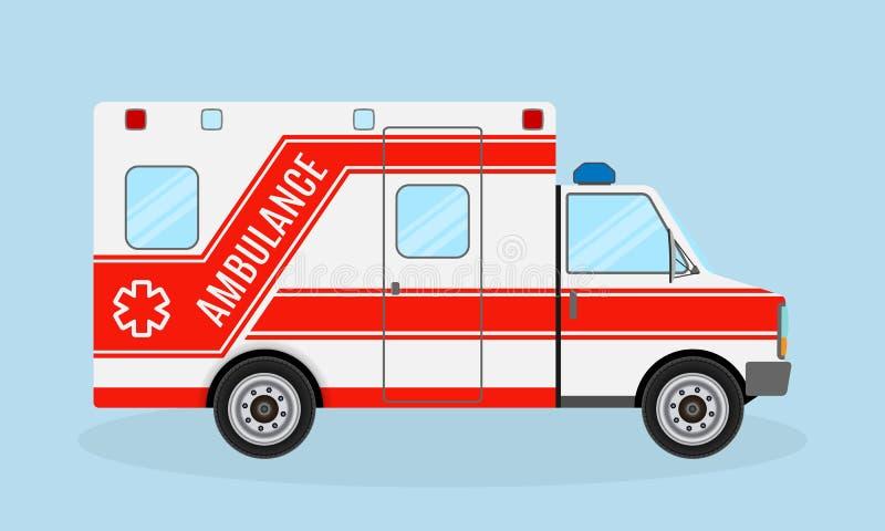 Ambulansowy samochodowy boczny widok Przeciwawaryjny usługa zdrowotna pojazd Medycyna sanitariusza transport Szpitalny transport ilustracja wektor