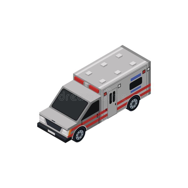 Ambulansowy samochodowy isometric 3D element ilustracji