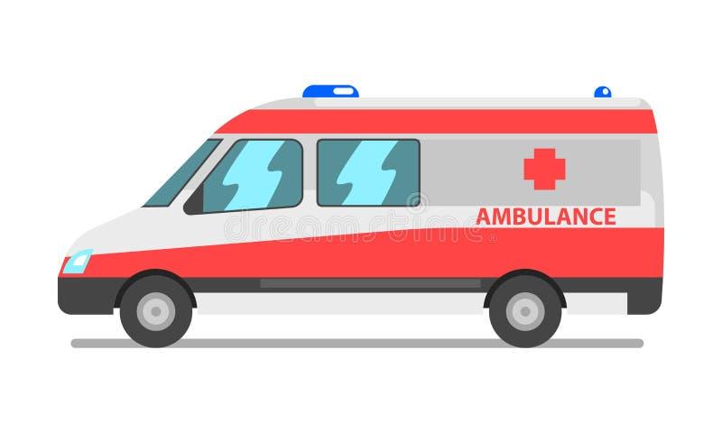 Ambulansskåpbil, nöd- för medelvektor för medicinsk service illustration på en vit bakgrund vektor illustrationer