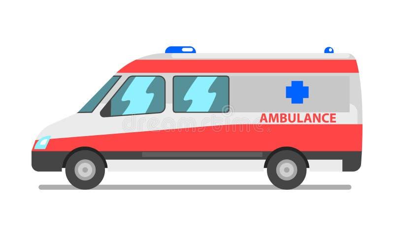 Ambulansskåpbil, nöd- för medelvektor för medicinsk service illustration på en vit bakgrund stock illustrationer