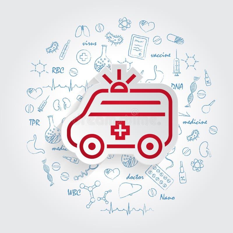 Ambulanssymbols- och sjukvårdklotter vektor illustrationer
