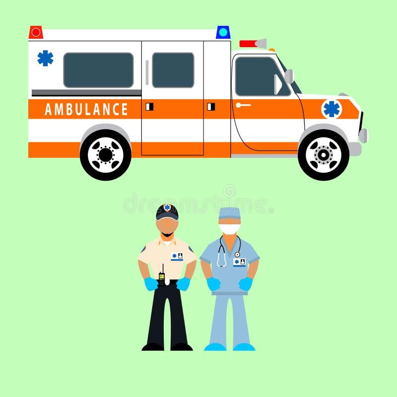Ambulanza dell'illustrazione di vettore, driver dell'ambulanza e gruppo di medici salvataggio illustrazione vettoriale
