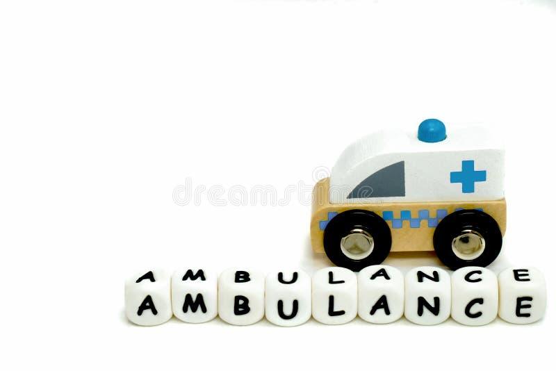 ambulanza di legno del giocattolo fotografia stock