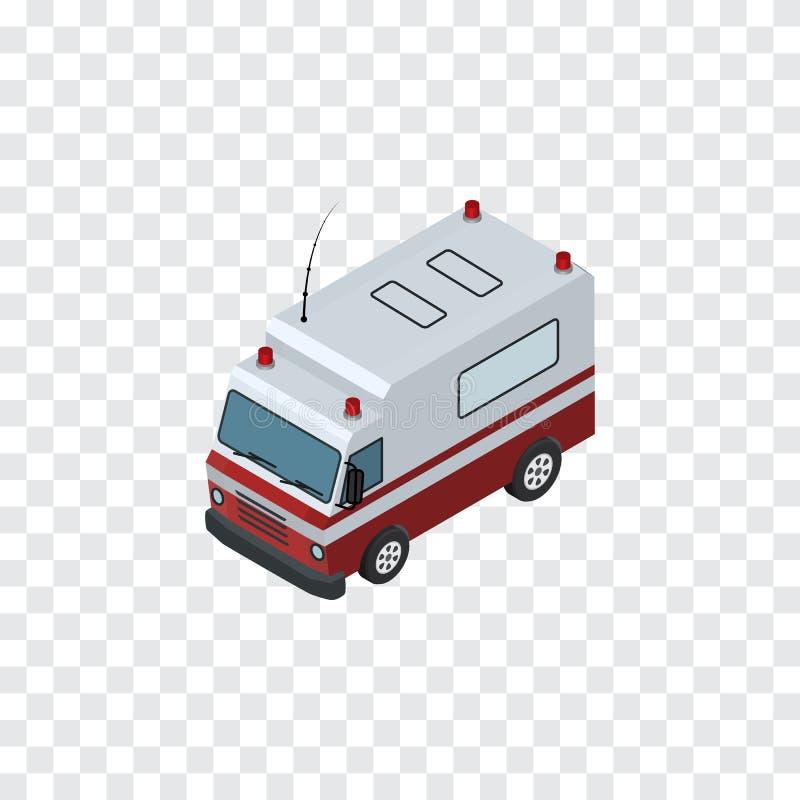 Ambulanza isolata isometrica L'elemento di pronto soccorso di vettore può essere usato per l'ambulanza, l'aiuto, concetto di prog illustrazione di stock