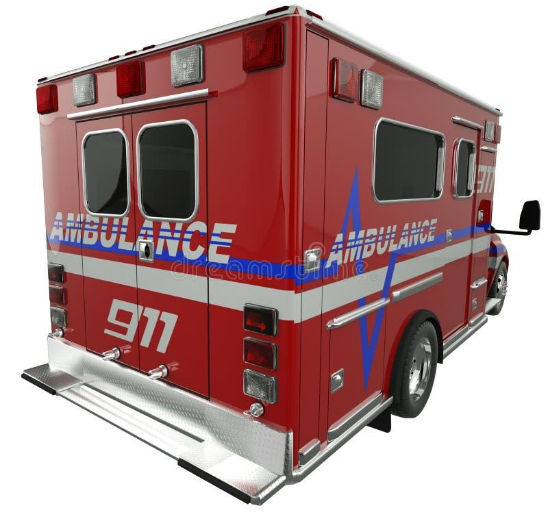 Ambulanza: Retrovisione del veicolo di servizi di soccorso su bianco fotografia stock