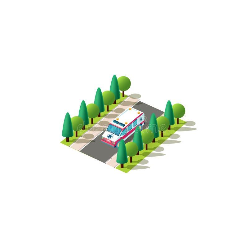 Ambulanza sinistra isometrica di vista royalty illustrazione gratis