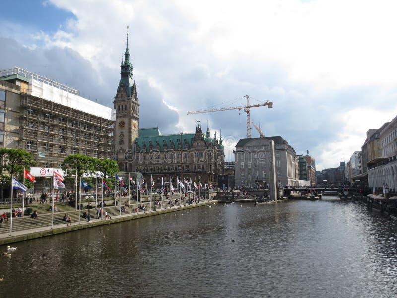 amburgo germany Panorama della città Vista del comune fotografia stock