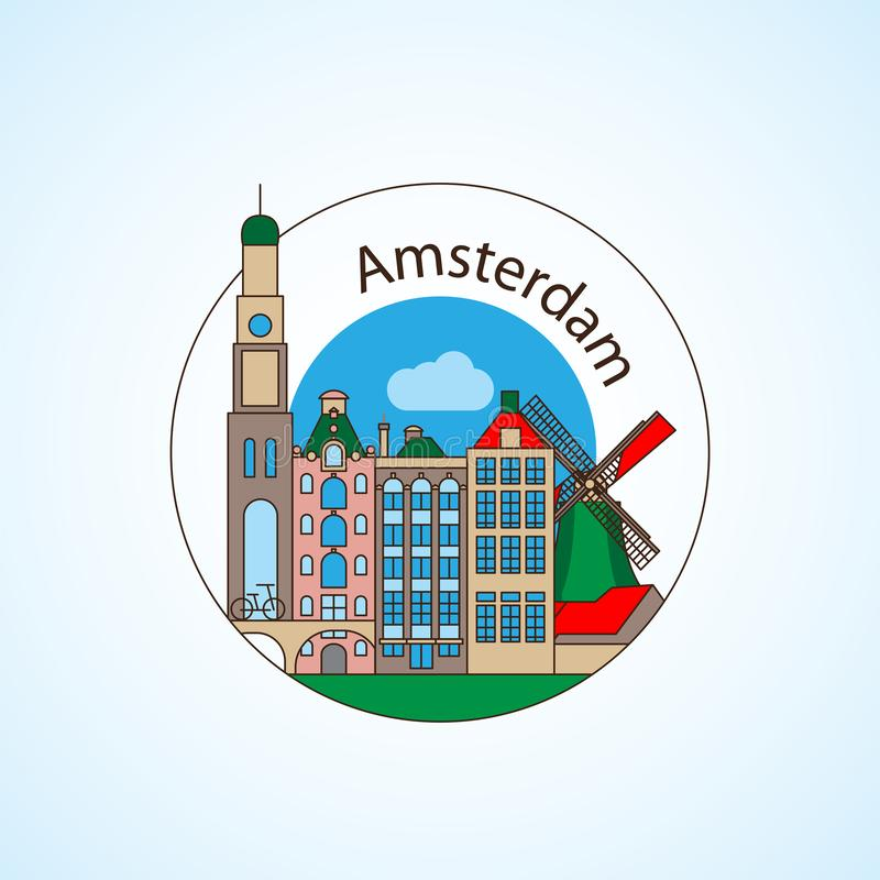 Amcterdam Netherlands Detailed silhouette. Trendy vector illustration, flat style. Round colorful landmarks. The concept for a web banner or travel logo vector illustration