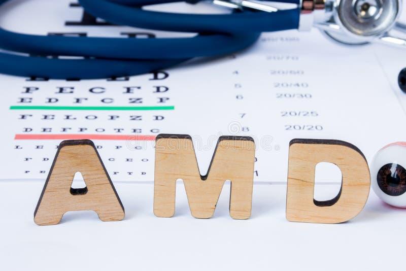 AMD-Afkorting of acroniem van van de leeftijd afhankelijke macular degeneratie - oogprobleem in oudere personen Word AMD is op vo stock foto's