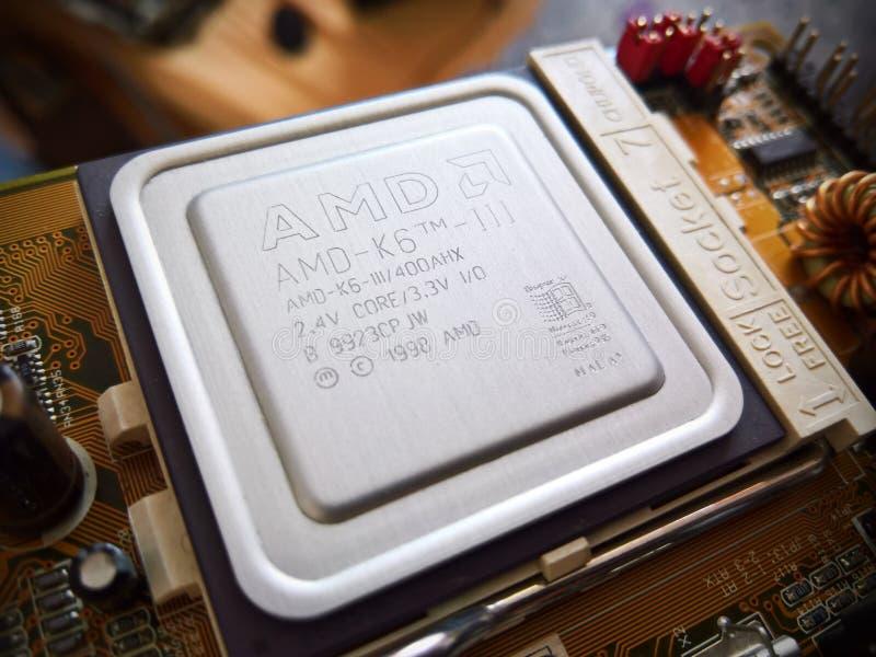 AMD K6 III vintage Socket 7 processor stock photography