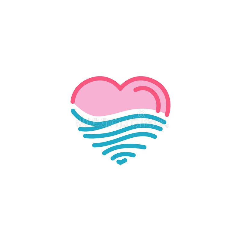 Ame com areia do deserto ou acene o mar, oceano, ícone da água Linha simples estilo Logo Template Design da ilustração do coração ilustração do vetor