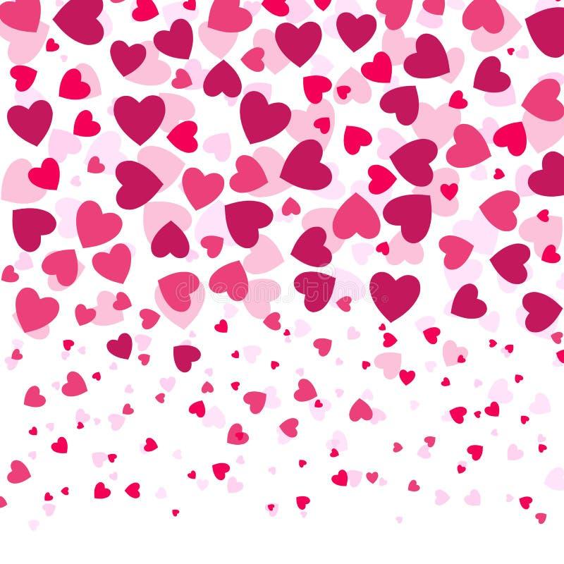 Ame corações coloridos do witn romântico do fundo, teste padrão do dia de Valentim, ilustração do vetor